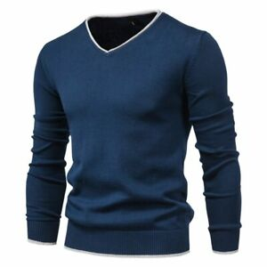 Men Autumn Sweater V-neck Pullovers Fashion Solid Long Sleeve Sweaters Knitwear