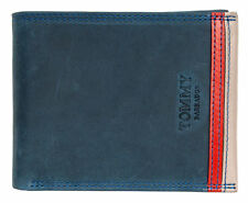 Dark blue genuine leather wallet Tommy Barbados with red-beige strip outside