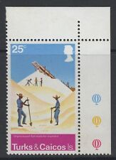 TURKS & CAICOS IS. SG441w 1975 SALT RAKING INDUSTRY 25c WMK INVERTED MNH