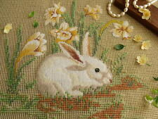 "18"" Vtg PREWORKED Needlepoint Canvas Petit Point-Bunny Rabbit In Yellow Daffodil"