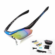 Wolfbike Cycling 5lens Glasses Outdoor Sports Eyewear Sunglasses Bicycle Goggles Blue