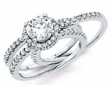 1.75 ct Round Cut Diamond Solitaire Engagement Ring Set Platinum Finish