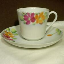 Vintage Handpainted Marked Japan Porcelain Tea Cup & Saucer Set Flowers Gilt