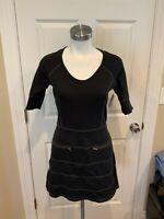 Athleta Black Knit Short Sleeved Athletic Dress w/ Front Zip Pockets, Size XS