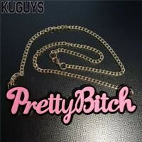 Acrylic Pretty Bitch Pendant Necklace Mean Girl Rebel Hiphop