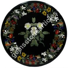"26""x26"" Marble Black Top Coffee Table Inlay Floral Pietradura Art Christmas Gift"