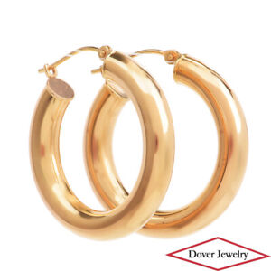Estate 14K Gold Wide Medium Hoop Earrings NR