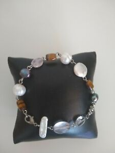cultured pearl and multi gemstone silver tone bracelet  8 inches
