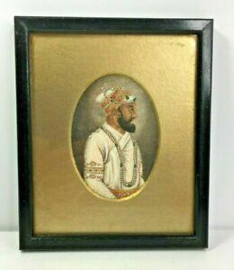 Antique Portrait Miniature Painting Indian Moghul Mughal Shah