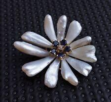 1920-1930's daisy brooch Mississippi river pearls 14k gold diamond +sapphires