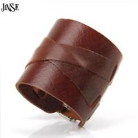 Leather Punk Wide Bracelet Cuff Genuine Rock Bangle Men Wristband Belt RivetCool
