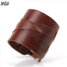 Leather Punk Wide Bracelet Cuff Genuine Rock Bangle Men Wristband Belt Rivet New