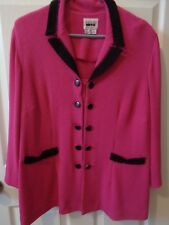 Womens Leslie Fay Petite Hot Pink layered look Long Sleeve Jacket/Top Size 20WP