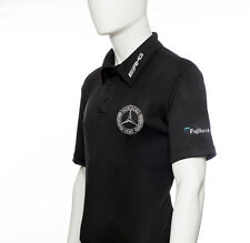 Men's Black Golf Polo PGA sponsor logo Fujikura, Mercedes, AMG, RBS