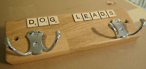 "Handmade ""Scrabble"" Style Rustic Wood Double Hook Dog Lead Holder"