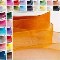 Full Reel io Organza Ribbon Woven Edge Sheer Chiffon Wedding Crafts - 20m/50m