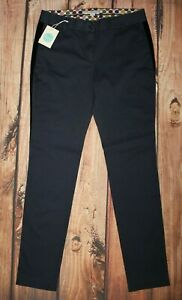 Boden Navy Blue Khakis Chinos Chino Trousers UK 12 Long 97% Cotton NEW