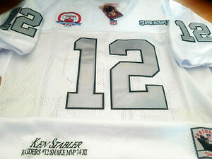 White/Silver NEW Oakland Raiders #12 Ken Stabler SB patch sewn Jersey Free ship