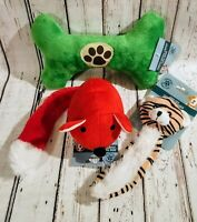Dog Toys Lot 3 Plush Squeakers Stuffed Crinkly Chew Squeaky Bone Puppy Toy New