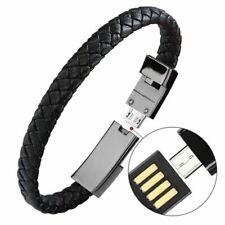 Portátil Cuero MINI Micro USB Pulsera Cargador Datos Cable de Carga Sync Cable F
