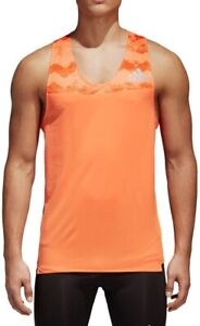 adidas Adizero Mens Running Singlet Orange Race Vest Climacool Ventilated Tank