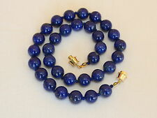 "Natural Lapis Lazuli Necklace 10mm lapis 16"" Hand Knotted Grade 'A' 10 mm Beads"