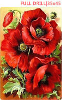 UK Full Drill Red Poppy Flowers 5D Diamond Painting Large Size Cross Stitch h8Y