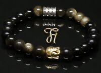 Obsidian schwarz glänzend Armband Bracelet Perlenarmband Buddhakopf gold 8mm