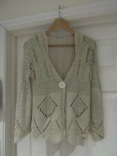 JENNY'K TARGA Paris Cardigan Beige/Nude Crochet Knit Summer Wear UK Size Small