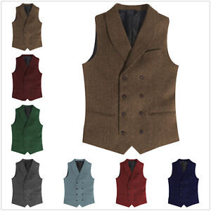 Double-Breasted Mens Vests Notch Tweed Waistcoats Vintage Herringbone Wool Retro