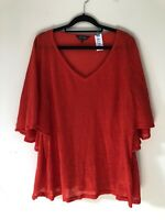 Phase Eight Red 100% Linen Romantic Floaty Sleeves Blouse Top Size 14 A1719