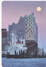 Postkarte: Hamburg - die Elbphilharmonie, Schiff San Diego und Vollmond - Elphi