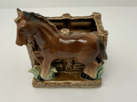 Vintage Ceramic Planter Bay Horse By Fence Made In Japan Excellent