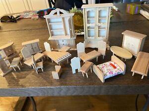 Lot 22 New Dollhouse Miniature Unpainted Wood Furniture
