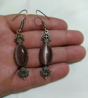 Beautiful Ancient Victorian Sterling Silver Earrings Agate Stone Gypsy