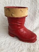"""Vintage 7"""" Paper Mache Christmas Candy Containers Santa's Red Boot Collectible"""