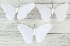 Large Satin Butterflies Butterfly 13 Colours Weddings Crafts Florist Wire Ivory 3 Butterflys