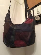Vintage 1970s 60s Patchwork Leather Purse Bag -Navy Blue Maroon Black Gray Brown