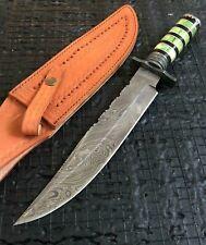 "SUPERB 14.9"" HANDMADE BEAUTIFUL DAMASCUS STEEL HUNTING BOWIE KNIFE W/SHEATH(7-1"