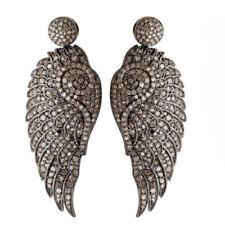 Antique Look Designer Wings Earrings 6.60ct Pave Diamond 925 Sterling Silver