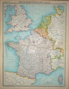 "1920 LARGE MAP ~ FRANCE BELGIUM & HOLLAND ~ POLITICAL ~ 23"" x 18"""