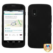 For T-Mobile LG Nexus 4 E960 IMPACT TUFF HYBRID Case Phone Cover Black Black