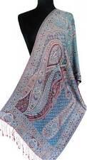 Reversible Paisley Silk Scarf Iridescent Silk Jamavar Red & Blue Scarf Shawl