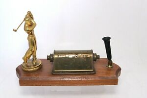 Vintage Walnut Perpetual Desk Calendar With Golfer Pen Holder Mid Century No Pen