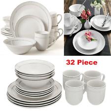 32 Piece Round Moon Dinnerware Set Kitchen White Dining Plates Dishes Bowls Mugs