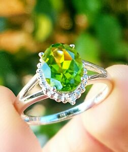 1.7ct Natural Peridot Diamond Solid White 9K Gold Ring Engagement Dress Cocktail