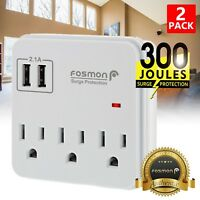 3 Outlet Surge Protector Power Strip with USB Charger Adapter 300J 1875W -2 PACK