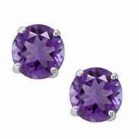 14K Solid White Gold February Amethyst Round Shape Stud w/ Push Back Earrings