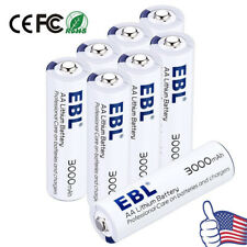EBL 1.5V AA Lithium Battery 3000mAh Batteries (8 Pcs) With Battery Storage Case