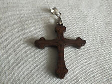 """Clasp signed 18Kgp 2"""" Long Wow Beautiful Pendant Silver Tone Carved Wood Cross"""